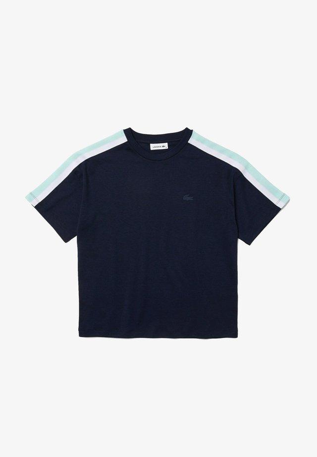T-shirt imprimé - bleu marine / turquoise / blanc