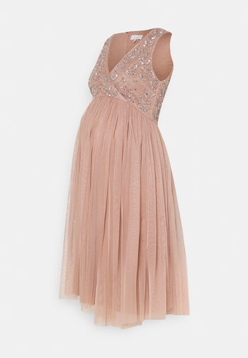 EMBELLISHED WRAP BODICE MIDI DRESS