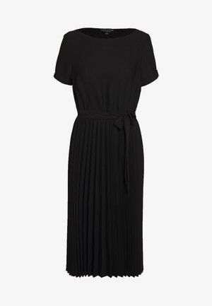 SLEEVE KEYHOLE PLEATED MIDI DRESS - Denní šaty - black