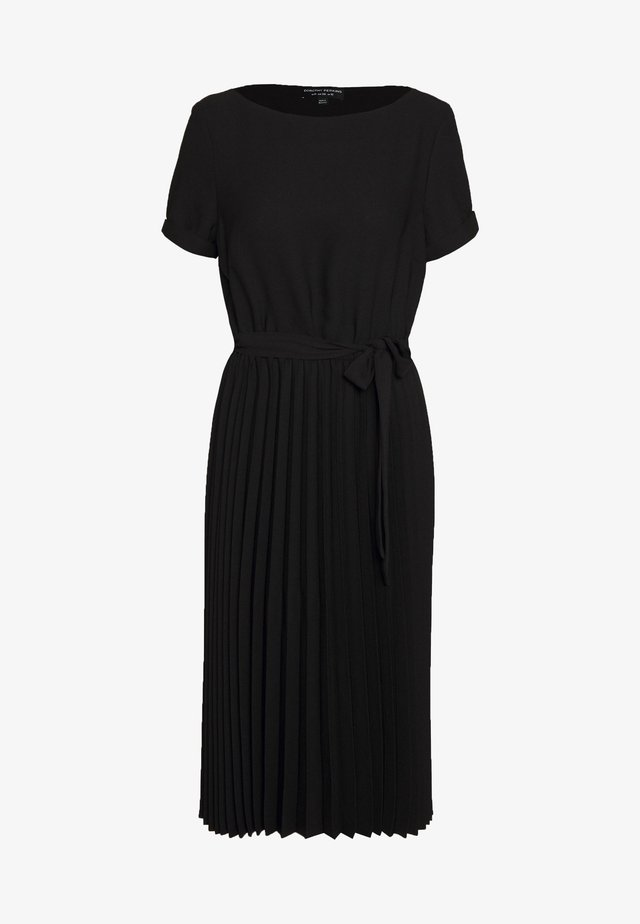 SLEEVE KEYHOLE PLEATED MIDI DRESS - Sukienka letnia - black