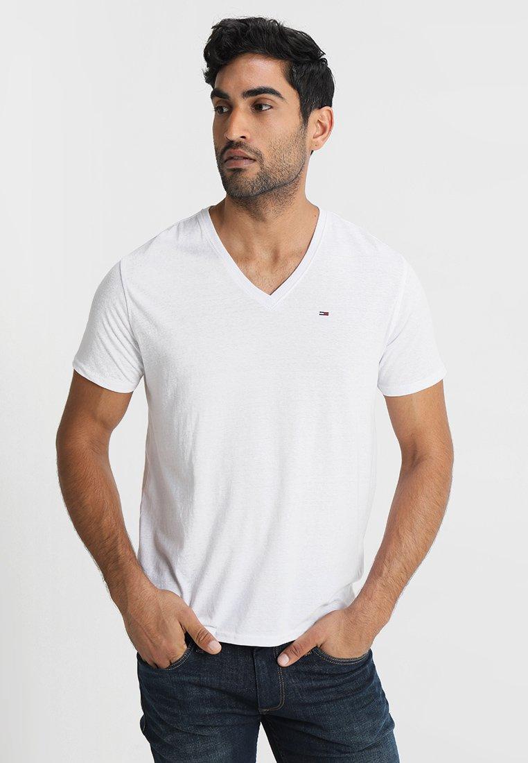 Tommy Jeans - ORIGINAL TRIBLEND V-NECK TEE REGULAR FIT - Basic T-shirt - classic white