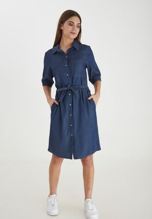 Denim dress - glossy blue denim