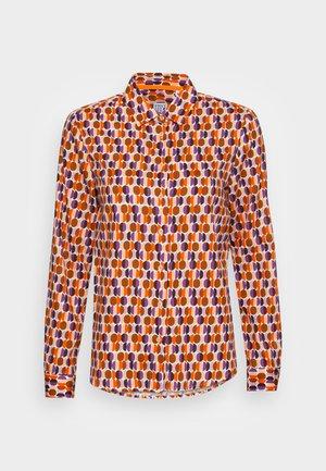BLOUSE - Button-down blouse - orange lilac brown