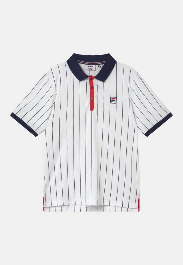 HANK PINSTRIPED - Polo shirt - bright white/black iris/true red