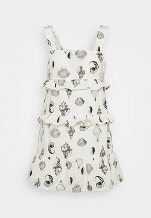 TIERED SHELL MINI DRESS - Korte jurk - white