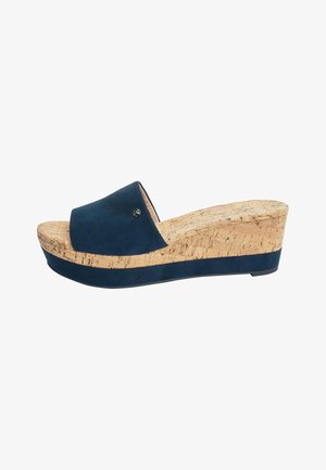 NAVY FOREVER COMFORT® MULE WEDGES - Wedge sandals - blue