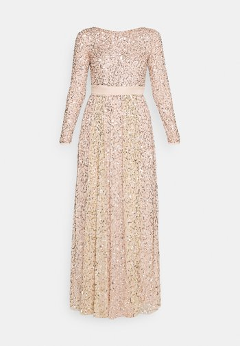 ALL OVER EMBELLISHED MAXI WITH THIGH SPLIT - Abito da sera - taupe blush