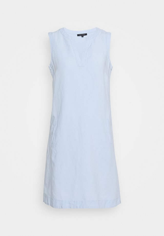 DRESS LOOSE STRAIGHT SHAPE PIPING - Denní šaty - light blue
