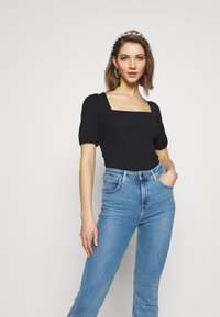New Look - MINI SQUARE NECK - T-shirt basic - black - 0
