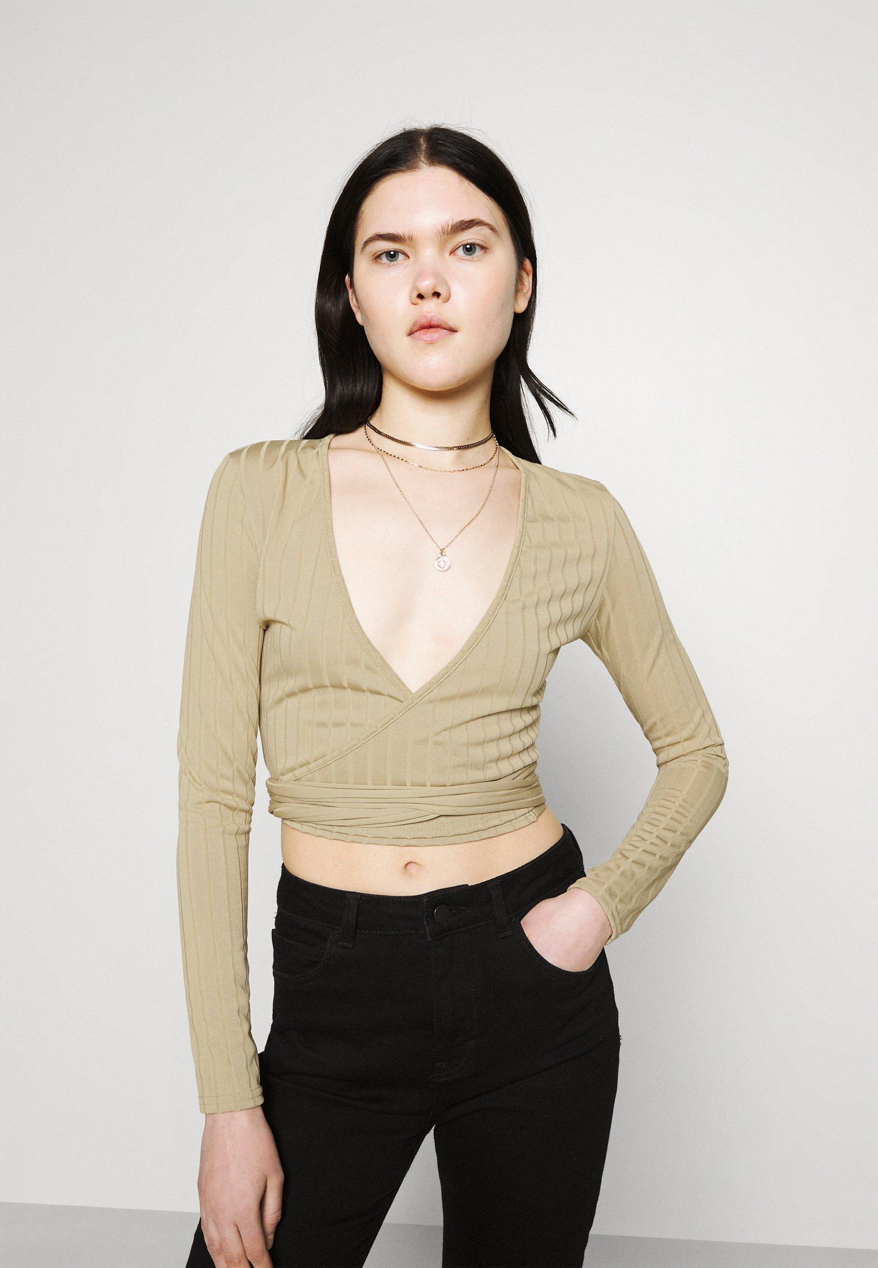 Women WRAP FRONT TIE WAIST CROP  - Long sleeved top
