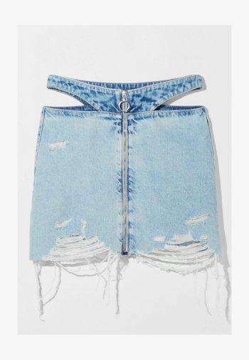 MIT REISSVERSCHLUSS UND CUT-OUTS  - Denim skirt - blue denim