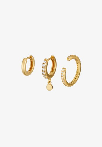 LUXE DISC DROP HUGGIE PAVE CUFF EAR PARTY 3 PACK - Earrings - pale gold-coloured