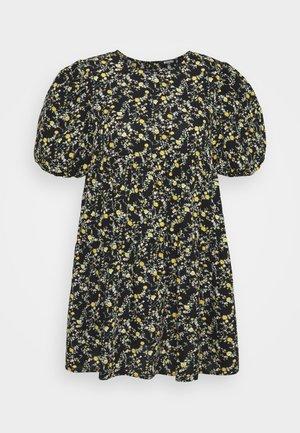 FLORAL PUFF SLEEVE SMOCK DRESS - Korte jurk - black