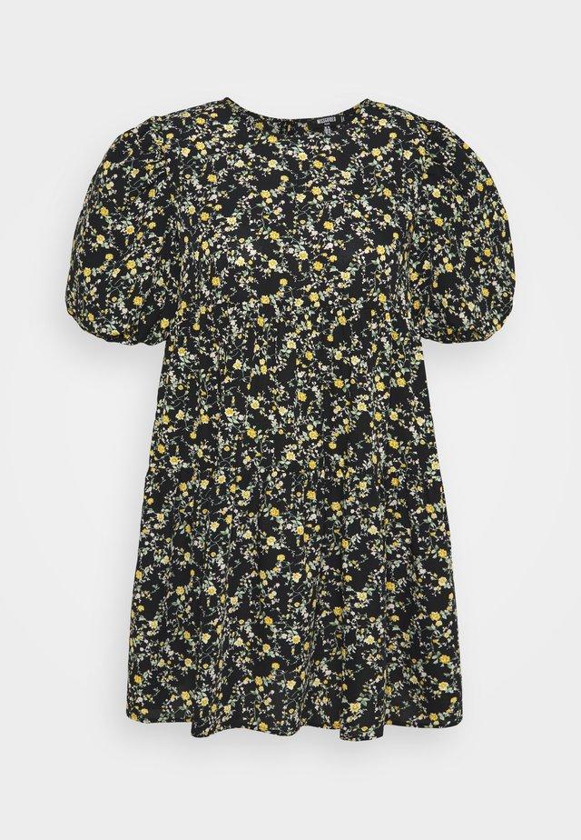FLORAL PUFF SLEEVE SMOCK DRESS - Robe d'été - black
