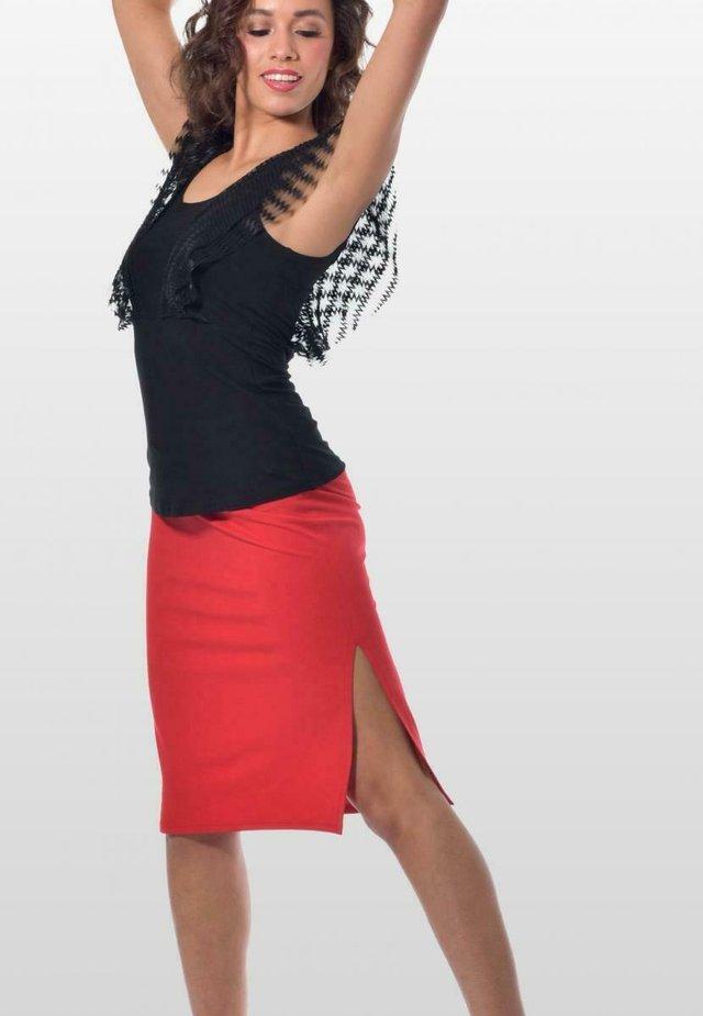 NIZZA - Pencil skirt - tangorot