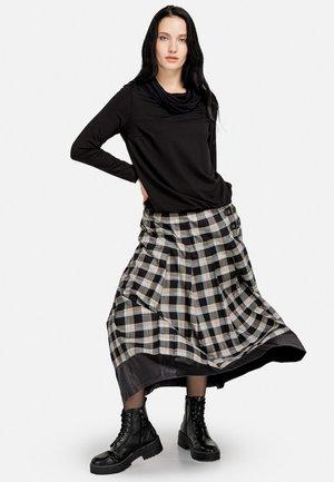 KARO - A-line skirt - schwarz/beige
