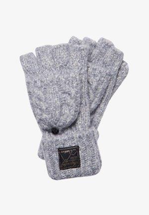 TWEED CABLE - Fingerless gloves - mid grey tweed