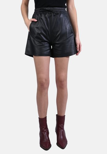 PICK - LEATHER SHORT - Leather trousers - black