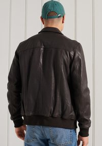 Superdry - INDIE CLUB JACKET - Faux leather jacket - brown paloma leather - 1