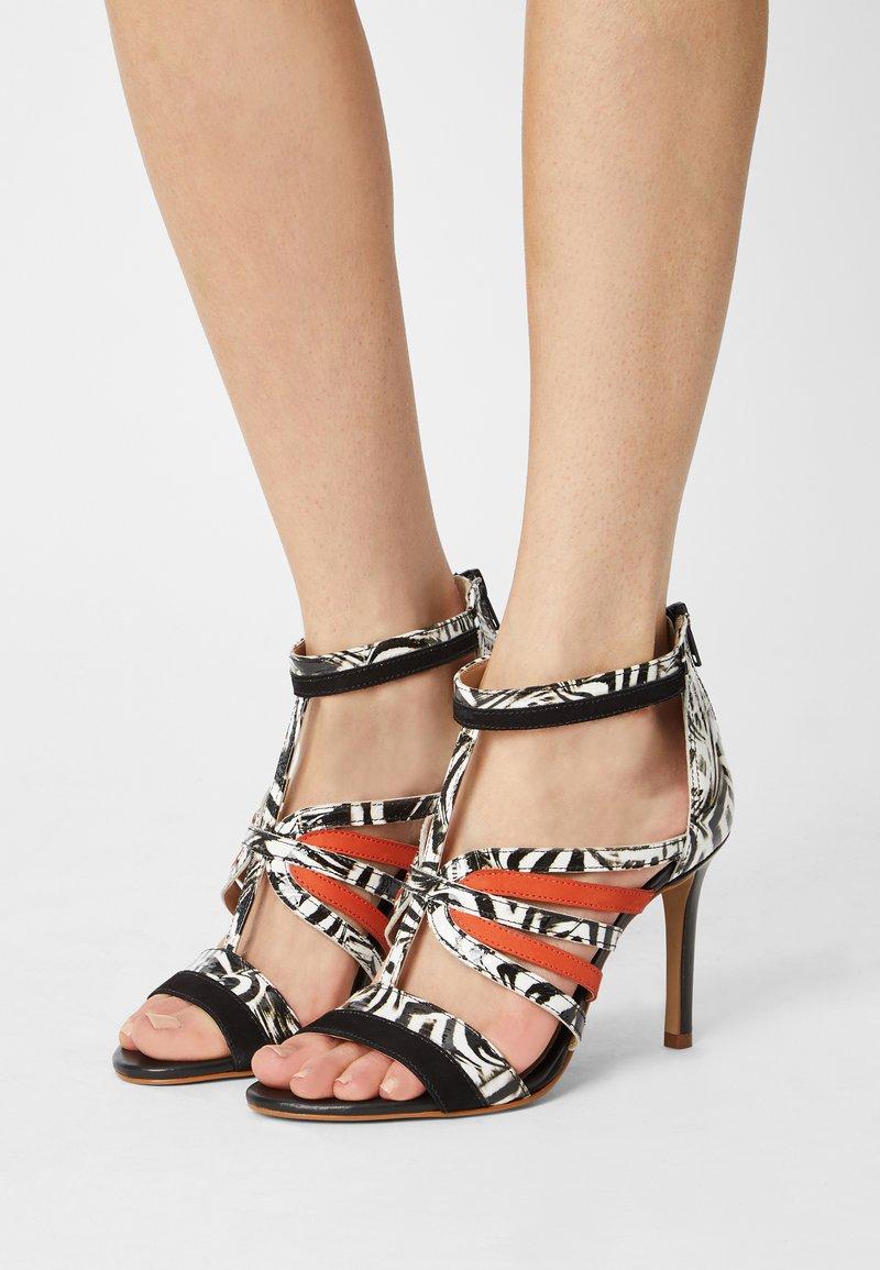 San Marina - NITOBA - High heeled sandals - noir blanc