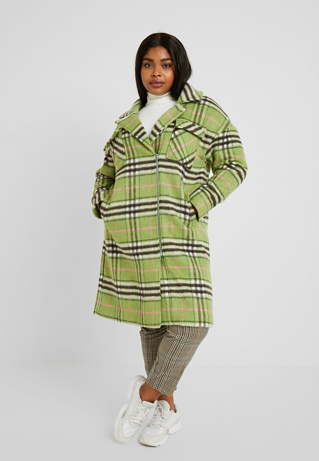CHECK ZIP FRONT COAT - Classic coat - multi green