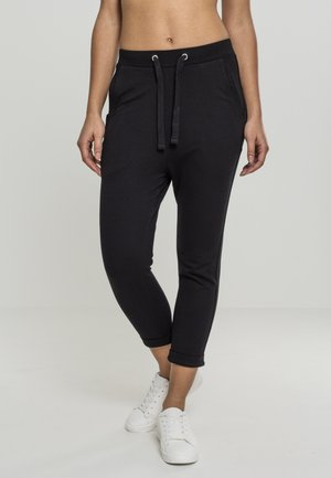 LADIES OPEN EDGE TERRY TURN UP PANTS - Teplákové kalhoty - black