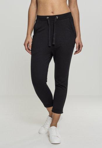 LADIES OPEN EDGE TERRY TURN UP PANTS - Teplákové kalhoty - black