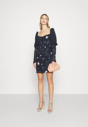 ASTRO PUFF SLEEVE MINI DRESS - Koktejlové šaty / šaty na párty - navy