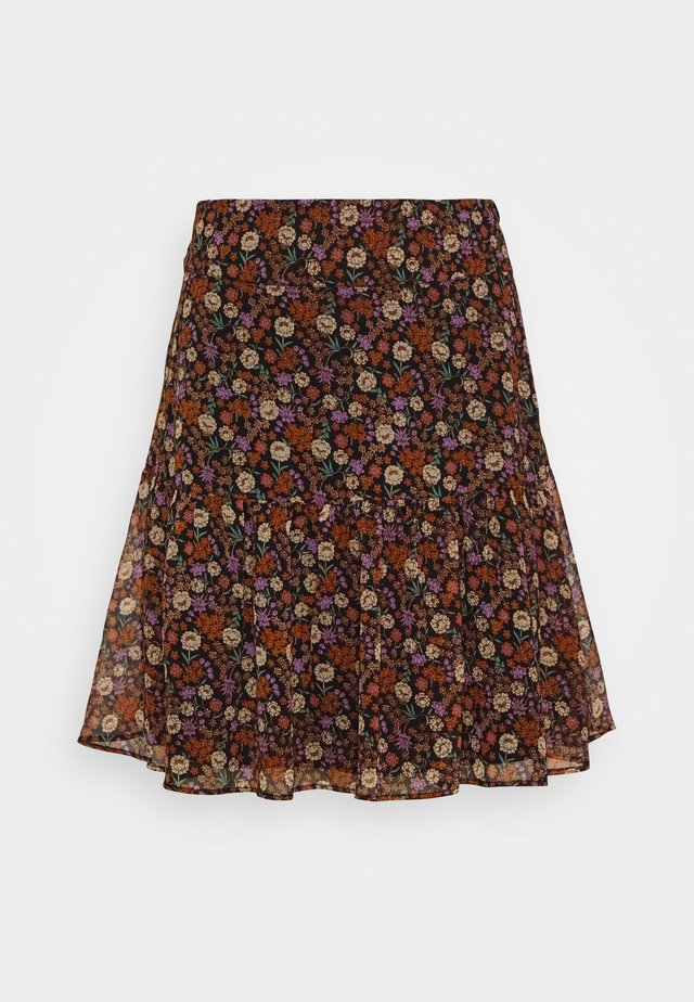 SHORTER LENGTH PRINTED SKIRT - Jupe trapèze - metallic red