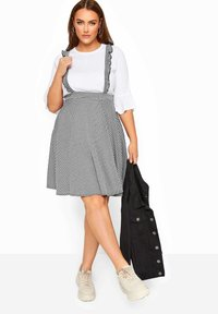 Yours Clothing - GINGHAM  - A-line skirt - black - 1