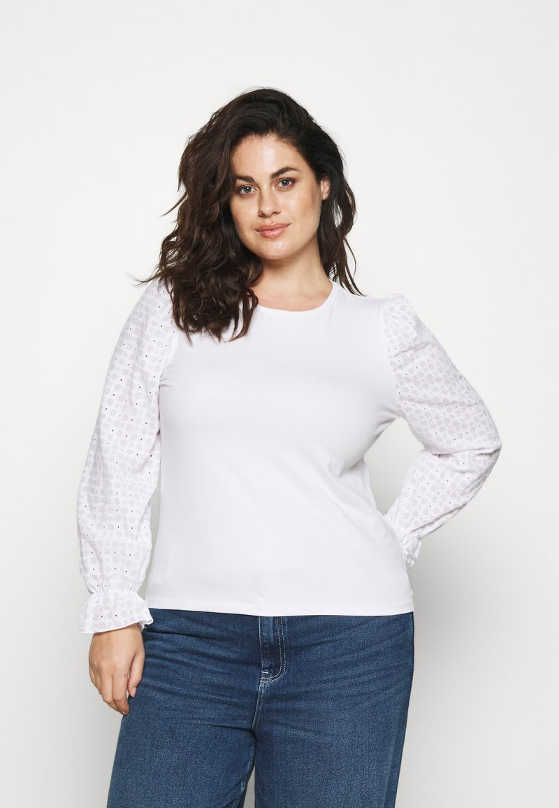 Pieces Curve - PCLIZZIE - Long sleeved top - bright white