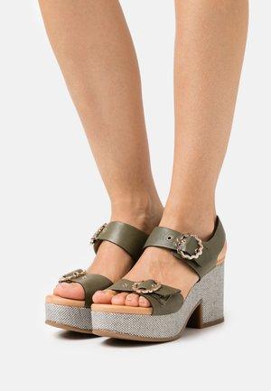 Platform sandals - natur/kaki