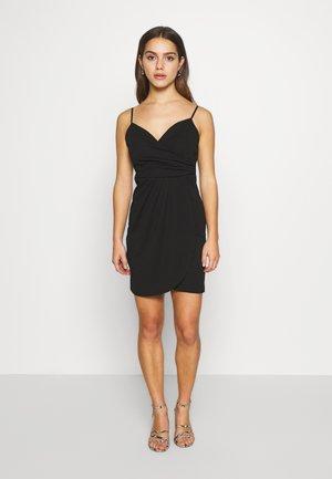 SPAGUETTI STRAPS WRAP DRESS - Jerseykjole - black