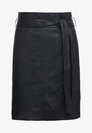 PECAN LULLIE  - Leather skirt - black
