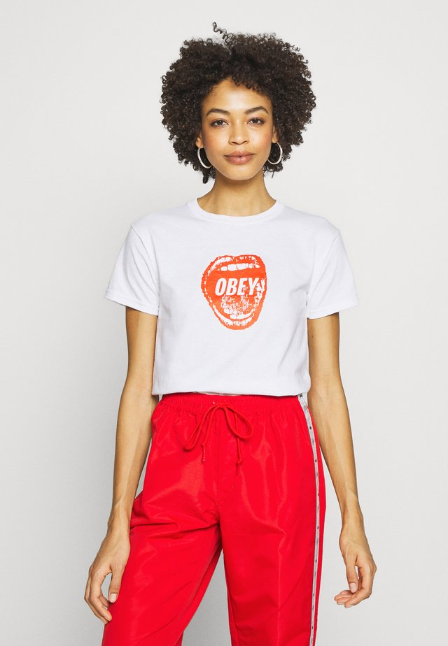 SCREAMIN LIPS - T-shirt con stampa - white