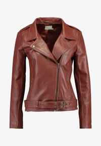 KAIZZY BIKER JACKET - Leather jacket - cherry mahogany