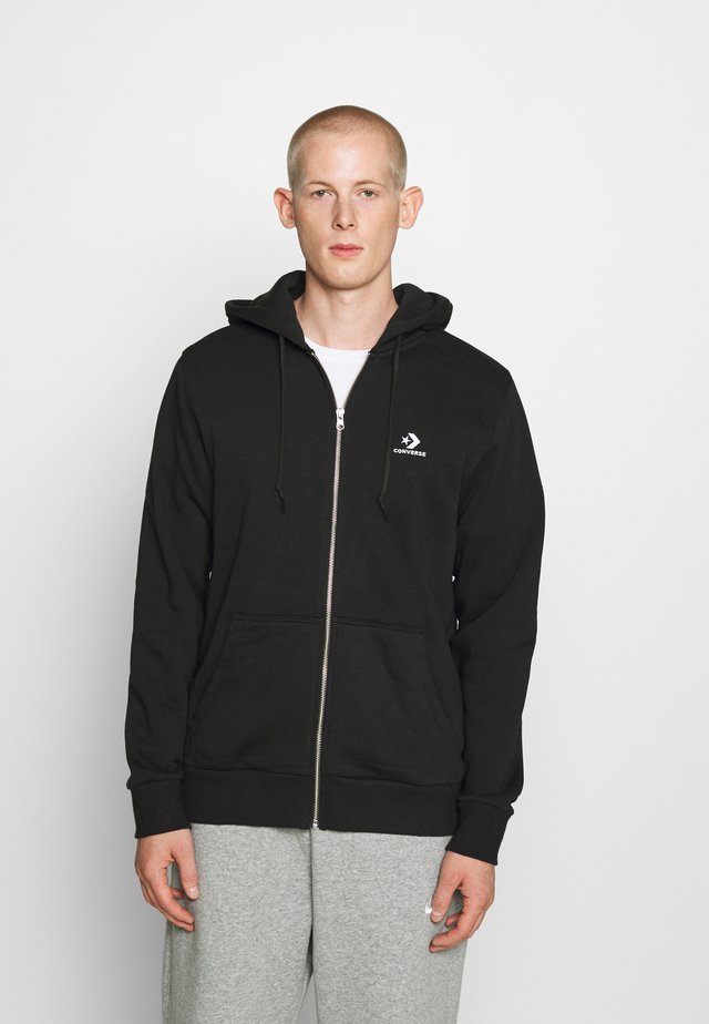 STAR CHEVRON EMBROIDERED - Zip-up hoodie - black