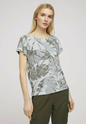 Print T-shirt - green botanical design