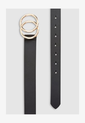 WHITE LEATHER CIRCLE BUCKLE BELT