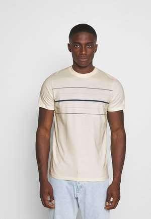 JORLOGAN STRIPE TEE CREW NECK - T-shirt print - whisper white