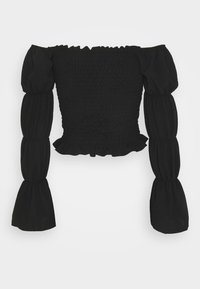 New Look - OFF THE SHOULDER SHIRRED SLEEVE TOP - Long sleeved top - black - 1