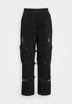 PANT WITH TRIGGERS - Pantalon classique - black