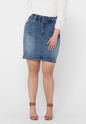 CURVY - A-line skirt - medium blue denim