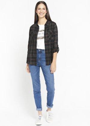 CHECK - Button-down blouse - black