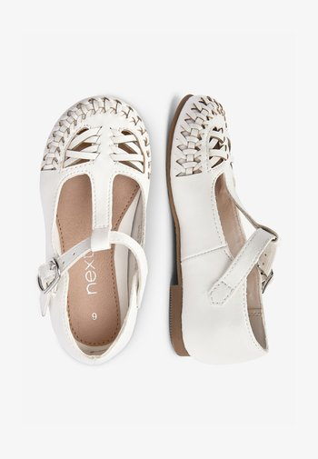 WHITE WOVEN T-BAR SHOES (YOUNGER)