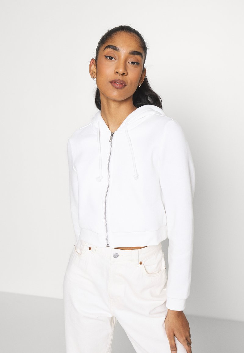Monki - Zip-up sweatshirt - offwhite light
