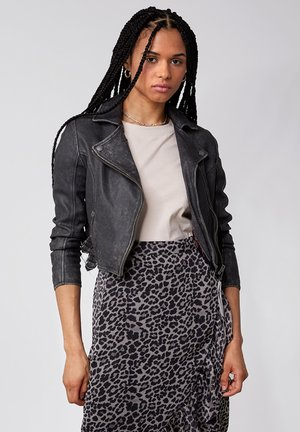 FOREVER YOUNG - Leather jacket - black stone wash