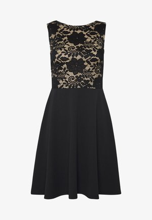 FIT FLARE CONTRAST - Cocktail dress / Party dress - beige/black