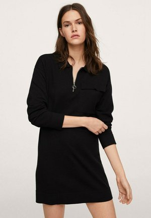 ZIPPER NECK - Vestido ligero - black