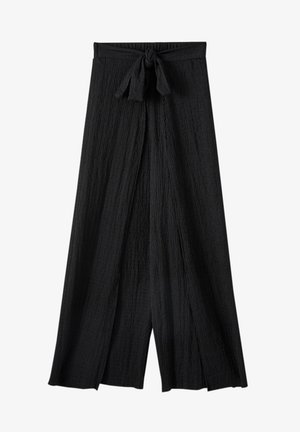 IM PAREO-STIL MIT GÜRTEL - Trousers - black
